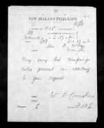 1 page written 13 Dec 1872 by an unknown author in Christchurch City to Sir Donald McLean in Wellington, from Native Minister - Inward telegrams