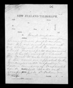 2 pages to Sir Donald McLean in Tauranga, from Native Minister - Inward telegrams