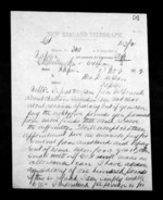 2 pages written 8 Nov 1872 by an unknown author in Wellington to Sir Donald McLean in Napier City, from Native Minister - Inward telegrams