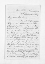 3 pages written 8 Sep 1869 by John Valentine Smith in Masterton to Sir Donald McLean in Wellington, from Inward letters - Surnames, Smith