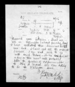 1 page written 4 Dec 1872 by John Rogan to Sir Donald McLean in Napier City, from Native Minister - Inward telegrams