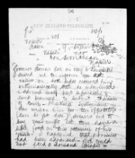 2 pages written 22 Nov 1872 by James Grindell to Sir Donald McLean in Napier City, from Native Minister - Inward telegrams