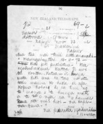 1 page written 22 Nov 1872 by an unknown author in Rotorua to Sir Donald McLean in Napier City, from Native Minister - Inward telegrams