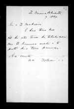 2 pages written 7 Aug 1868 by Toha to Sir Donald McLean in Napier City, from Documents in Maori