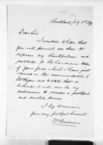 1 page written 11 Jul 1873 by William Bridson in Auckland Region to Sir Donald McLean, from Inward letters - Surnames, Bra - Bro