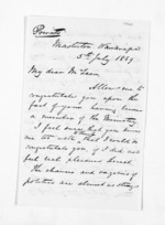3 pages written 5 Jul 1869 by John Valentine Smith in Masterton to Sir Donald McLean in Wellington, from Inward letters - Surnames, Smith