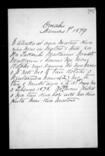 4 pages written 1 Jan 1879 by an unknown author in Omahu, from Correspondence and other papers in Maori