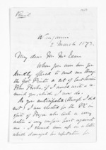 3 pages written 2 Mar 1873 by Robert Pharazyn in Wanganui to Sir Donald McLean in Wellington City, from Inward letters - Surnames, Pet - Pic