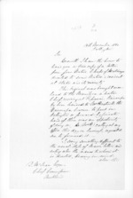 3 pages written 13 Nov 1860 by William Nicholas Searancke in Wellington to Sir Donald McLean in Auckland Region, from Secretary, Native Department -  Administration of native affairs