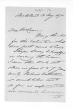 3 pages written 13 Jan 1870 by J B Brathwaite in Auckland Region to Sir Donald McLean, from Inward letters - Surnames, Bra - Bro