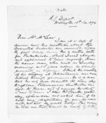 2 pages written 13 Jan 1874 by W G Stack in Wellington to Sir Donald McLean, from Inward letters - Surnames, Spe - Sta