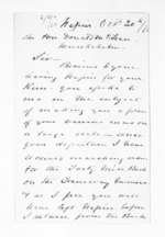 3 pages written 30 Oct 1873 by William Bogle in Napier City to Sir Donald McLean, from Inward letters - Surnames, Bla - Bol