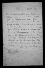 2 pages written 27 Feb 1869 by Hare Nepia Hapuku, from Correspondence and other papers in Maori