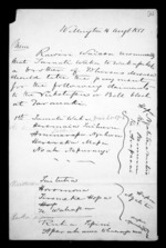 4 pages written 14 Aug 1851 by Sir Donald McLean in Wellington, from Correspondence and other papers in Maori