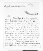 3 pages written 1 Dec 1873 by R T Blake in Patea to Sir Donald McLean, from Inward letters - Surnames, Bla - Bol
