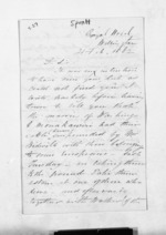 2 pages written 21 Feb 1862 by Henry Thomas Spratt to Sir Donald McLean, from Inward letters - Surnames, Spe - Sta