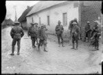 German prisoners who have strayed into New Zealand lines, at Courcelles, France, during World War I