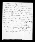 Letter from Nepia Pohuhu to McLean - 1 page, related to Nepia d Pohuhu, Wairarapa and Ngati Kahungunu ki Wairarapa, from Inward letters in Maori