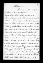 Letter from Te Keene Tangaroa to McLean - 2 pages, related to Te Keene Tangaroa, Auckland City, Ngapuhi and Ngati Whatua, from Inward letters in Maori