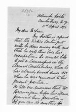 2 pages written 11 Apr 1873 by William James Geffrard Bluett in Canterbury to Sir Donald McLean, from Inward letters - Surnames, Bla - Bol