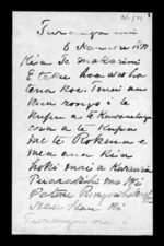 Letter from Rapata Wahawaha to McLean - 2 pages, related to Rapata Wahawaha, Gisborne District and Ngati Porou, from Inward letters in Maori