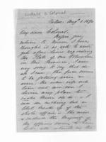 5 pages written 1 Aug 1870 by Captain John Lockett in Nelson Region, from Inward letters - Surnames, Loc - Log