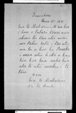 Letter from Te Raihi to McLean - 1 page, related to Te Raihi 1870s, Tamahere, Ngati Mahanga (Tainui) and Waikato, from Inward letters in Maori