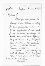 2 pages written 18 Mar 1876 by Edward Henry Bold in Napier City to Sir Donald McLean in Wellington, from Inward letters - Surnames, Bla - Bol