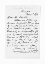1 page written 17 Aug 1874 by Rev James West Stack to Sir Donald McLean, from Inward letters - Surnames, Spe - Sta