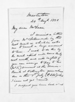 2 pages written 24 Aug 1868 by John Valentine Smith in Masterton to Sir Donald McLean, from Inward letters - Surnames, Smith