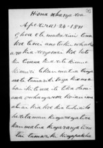 2 pages written 24 Apr 1871 by Rawiri Arapata in Whangaroa to Sir Donald McLean, from Documents in Maori