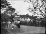 New Zealand troops and Samoan group, during the annexation ceremony in Apia, Western Samoa