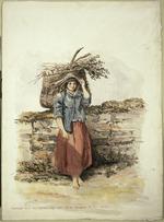 Oliver, Richard Aldworth  1811-1889 :Peasant girl fuel gathering / del R A Oliver R N, 1850