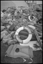Life raft and wreckage of ship Wahine on Eastbourne beach