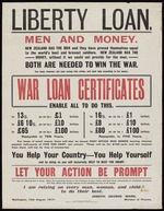 Liberty loan. Men and money. Both are needed to win the war. War loan certificates enable all to do this. Wellington, 15th August, 1917. Marcus F Marks, Government Printer