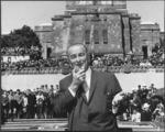 President Lyndon Johnson speaking at the War Memorial, Buckle Street, Wellington