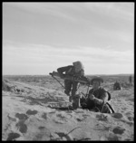 New Zealand  machine gunners in action in Tripolitania during World War 2 - Photograph taken by M D Elias