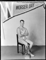 Surf Life Saver, Mr J W B Davenport, [Worser Bay Club?], Wellington, winner of  the Cook Straits trophy