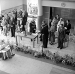 Governor General, Sir Willoughby Norrie, and VIPs on dais.  Opening of the Lower Hutt War Memorial Library, 28 February 1956.