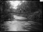 Man and woman standing on a log bridge across Coal Creek, near Greymouth