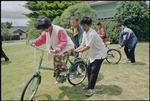 Cambodian refugees learning to ride bicycles in Waikanae - Photograph taken by Melanie Burford