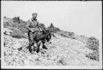 Charles Hazlitt Upham on a donkey, Kriekouki, Greece