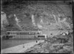 """View of the paddle steamer """"Manuwai"""" on the Whanganui River"""