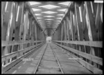 Interior view of the Railway Bridge over the Waikato River at Ngaruawahia, 1910 - Photograph taken by G & C Ltd