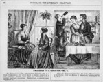 [Cartoonist unknown]:Two sides to a question - no. 4. Punch, or the Auckland Charivari, 13 March 1869 (p.132).