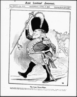 Cartoonist unknown :The lone drum-major. New Zealand Graphic and Ladies Home Journal, 5 April 1902 (front page).