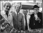 Sir James Wattie with three of his long-serving employees, by the production line for tinned spaghetti at the Wattie's factory in Hastings