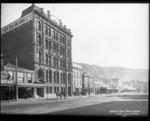 Lambton Quay, Wellington, with the New Zealand Drug Company building