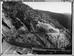 View of a curved corner of the railway track on the Rimutaka Incline