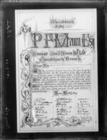 An illuminated address farewelling the manager of Niven & Co, P F Mann, and signed by members of the staff